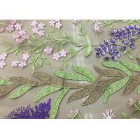 Soft Embroidered Tulle Coloured Lace Fabric , Women Dresses Lace Clothing Fabric Manufactures