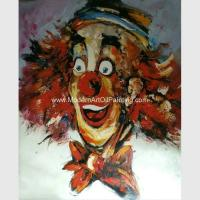 Red Palette Knife Paintings On Canvas Abstract Comedy Clown For Companies Clubs Manufactures