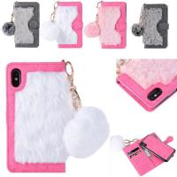 Hot sale in Amazon Fur  Detachable TPU Leather Wallets Phone Case Cover for iPhone X Manufactures