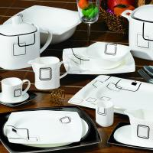 China 125pcs square shape decal  bone china  dinner set on sale