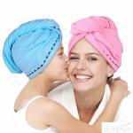 Super Absorbent Microfiber Hair Towel Wrap Hair Turban Head Wrap with Button Manufactures