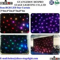Waterproof Velvet LED Star Curtain Theatre Stage LED Backdrop Red / Blue / Yellow Manufactures