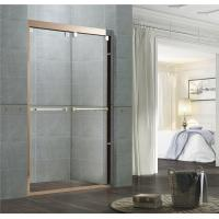 Clear / Frosted Tempered Glass Shower Enclosures Rose Gold Double Moving Door for Home Manufactures