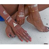 Flash Tat Style silver foil stickers / OEM ankle temporary tattoos Manufactures