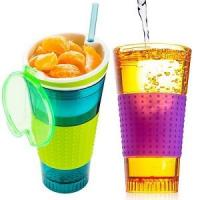 Custom Color Plastic Lunch Boxes Silicon 2 In 1 Snack Drink Cup With Sealed Lid Manufactures