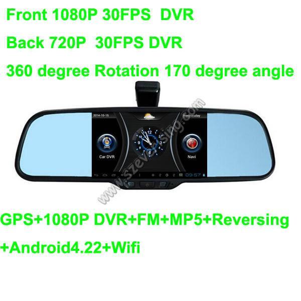 Quality 5.0inch Espejo retrovisor con Wifi HD dual DVR y MP5 GPS for sale