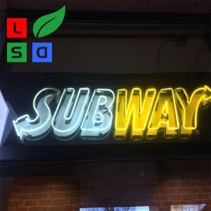 Acrylic Led Signage Led Neon Light Hand Made Logo Sign For Subway Using
