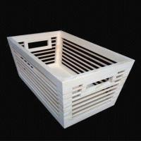 Wood Weave Storage Basket with Fabric Lining, Available in White Color Manufactures