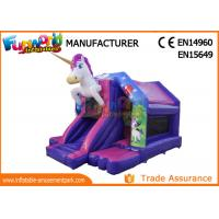 Buy cheap Pink / White Or Blue Commercial Bouncy Castles With Slide / Unicorn Bounce House from wholesalers