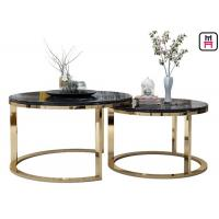 Custom Made Double Round Stainless Steel Coffee Table Marble Top For Salon / Event Manufactures