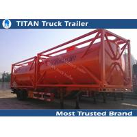 China 20ft 40ft Container diesel fuel tank trailer with carbon steel tank body on sale