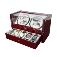 China Custom Watch Shaker 4+5 Luxury Wooden Watch Winder For Home Use Or Collection Black Color Watch Winder Wooden on sale