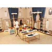 Quality Store Wall Racks / Retail Clothing Racks Rose Gold Mirror Stainless Steel Plus Wood for sale