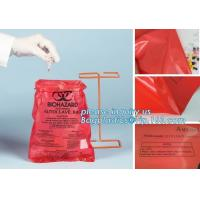 Plastic biohazard infectious waste Dustbin liner, Autoclave Biohazard Bags, High density PE drawstring garbage bag bioha Manufactures