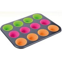 China Supplier heavy carbon steel bakeware 230C Heat-resistant baking tin with silicone cups muffin pan Manufactures