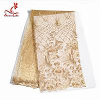 Colorful Beaded Embroidered Lace Fabric For Indian Sarees OEM ODM Manufactures