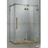 Green Bronze Frameless Hinged Shower Doors Two Fixed Panels  Rectangle Stainless Support Bar Manufactures