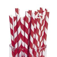 Food Grade Safe Striped Paper Straws Non Toxic FDA Approved Convenient Manufactures