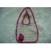 Comfortable Crochet Baby Items , Red Rose Creme Crochet Handmade Baby Bibs Manufactures