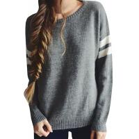 Trendy Crew Neck Long Sleeve Sweater , Knit Strips Boyfriend Pullover Sweaters Manufactures