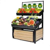 Multi Layer Fruit And Vegetable Display Stand Metal And Wooden Customer Size Manufactures