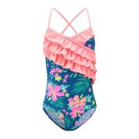 Floral Prints Pink Ruffles Little Girl Swimsuits , Spaghetti Strap Swimsuit Summer Design Manufactures