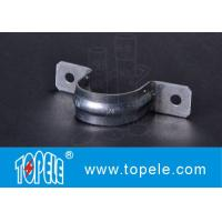 EMT Conduit Fittings , Galvanized Steel / Zinc Plated Two Hole EMT Conduit Strap OEM Manufactures