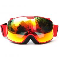 Quality Durable Comfortable Red Snowboard Goggles , Double Lens Ski Goggles With Anti Burst for sale