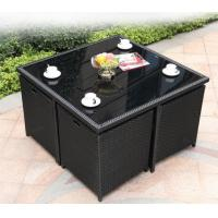 China Outdoor Square Rattan Garden Dining Table With Glass Top Weatherproof on sale