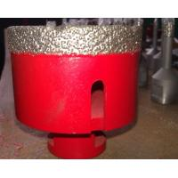 Vacuum Brazed Granite Core Drill Bits / Stone Hole Saw Red Silver Color Manufactures
