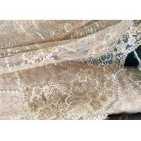 Champagne Gorgeous Flowers Sequin Lace Fabric With Dot Scalloped For Party Gown Manufactures