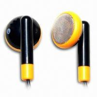 Black-and-yellow Plastic Earphones with 30Hz-20kHz Frequency Manufactures