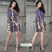 China flower and phoenix patterns printed women fashion short dress with puff sleeve in off shoulder on sale