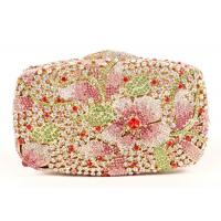 Elegant Bling Women Clutch Gold Purse With Flower Rhinestone Crystal Manufactures