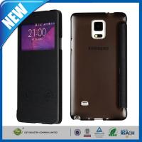 PU Samsung Cell Phone Cases , Galaxy Note 4 S-View Flip Smart Leather Cover Manufactures