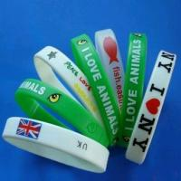 Custom CMYK printed silicone bracelet / rubber Sports Silicone Bracelets Manufactures