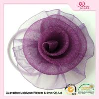 Purple Decorative Sheer Organza ribbon flower hair bows 5.5cm Size Manufactures