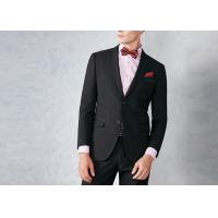 Black Tailored Mens Tuxedo Suits Breathable Polyester / Rayon Fit Wedding Party Manufactures