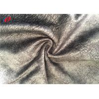Upholstery 100% Polyester Brushed Fabric , Gray Printed Sofa Velvet Fabric Manufactures