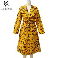 Yellow Star Knee Length African Print Dresses For Autumn / Spring / Summer Manufactures