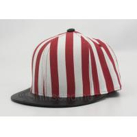 Cotton Twill Snapback Plain Adult Baseball Cap Flat Brim Red With Black Manufactures