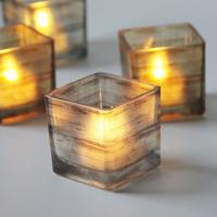 Recycled Square Frosted Tealight Holders / Wedding Small Glass Candle Holders Manufactures