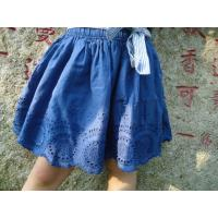 Blue Embroidery Cotton Little Girls Denim Skirt , Eyelet Girls Summer Skirts With Bow Manufactures