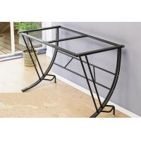 Desktop Learning Glass Office Desk , Basic Computer Workstation Table For Small Spaces Manufactures