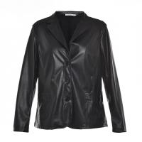 China Slim Fitted Style Ladies PU Jackets / Womens Faux Leather Jackets Lapel Collar on sale