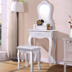 Bathroom Vanity Wood Makeup Dressing Table Stool Set with Mirror Manufactures