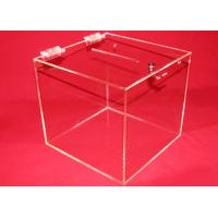 Quality 3mm Clear Acrylic Storage Boxes , Custom Square Locking Donation Box for sale