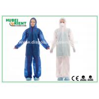 Waterproof Disposable Coveralls with Hood , Nonwoven Breathable Stripping Manufactures