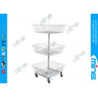 Metal Powder Coated Wire Display Basket Stands with 3 White Baskets Manufactures