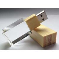 Rectangle Crystal USB Flash Drive 4GB Customized Wooden Transparent Manufactures